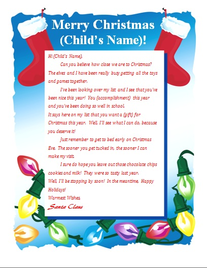 Template for father christmas letter new calendar template site for Letter from santa free printable