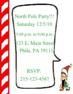 north pole invitations