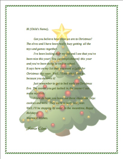 Free Printable Letter From Santa  Microsoft Word Christmas Letter Template