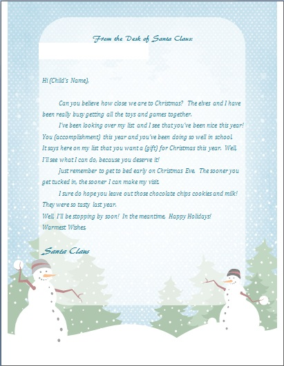 printable letter from santa - Christmas Letters From Santa